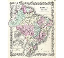 Vintage Map of Brazil (1855) Photographic Print