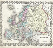Vintage Map of Europe (1855)  by BravuraMedia
