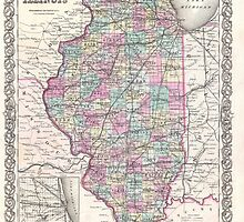 Vintage Map of Illinois (1855)  by BravuraMedia
