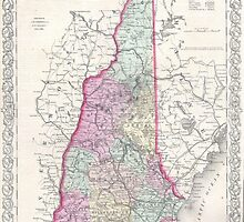 Vintage Map of New Hampshire (1855) by BravuraMedia