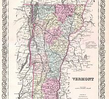 Vintage Map of Vermont (1855) by BravuraMedia