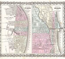 Vintage Map of Chicago and St. Louis (1855)  by BravuraMedia
