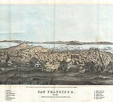 Vintage Pictorial Map of San Francisco (1854)  by BravuraMedia