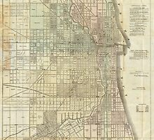 Vintage Map of Chicago (1857) by BravuraMedia