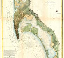 Vintage Map of The San Diego Bay (1857) by BravuraMedia