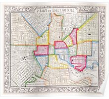 Vintage Map of Downtown Baltimore (1860) Poster