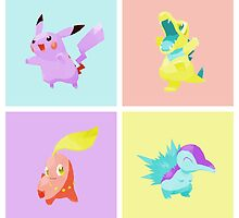 Pokemon Gold/Silver Pop Art by meowzilla