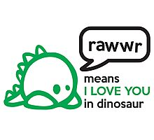 RAWWR - means I love you in dinosaur Photographic Print
