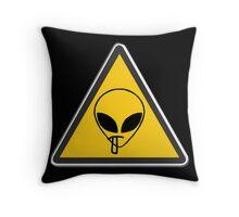 Smoking Alien Alert Throw Pillow
