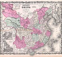 Vintage Map of China (1862)  by BravuraMedia