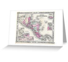 Vintage Map of Central America (1864) Greeting Card