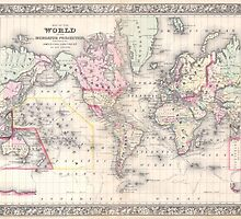 Vintage Map of The World (1864) by BravuraMedia