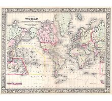 Vintage Map of The World (1864) Photographic Print