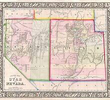 Vintage Map of Nevada and Utah (1866) by BravuraMedia