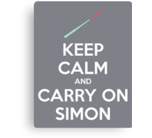 Keep Calm and Carry On Simon—White Text Canvas Print