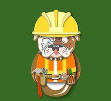 Bulldog Construction Guy Workobeez.com iPhone Case by Lisa Rotenberg