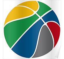Basketball with FIBA official colors  Poster