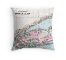 Vintage Map of Long Island (1880)  Throw Pillow