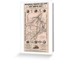 Vintage Boston and Montreal Railroad Map (1887) Greeting Card