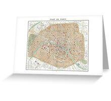 Vintage Map of Paris (1892) Greeting Card