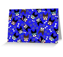 Boston Terrier Funny Faces Blue Greeting Card