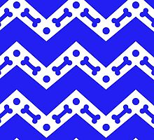 Dog Bone Chevron Blue by WaggSwagg