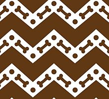 Dog Bone Chevron Brown by WaggSwagg