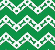 Dog Bone Chevron Green by WaggSwagg