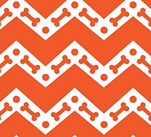 Dog Bone Chevron Orange by WaggSwagg