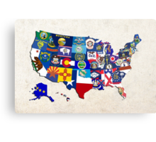 USA State Flags Map Mosaic Metal Print