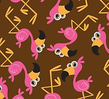 Cute Flamingo Brown by WaggSwagg