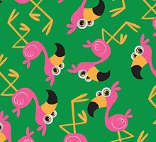 Cute Flamingo Green by WaggSwagg