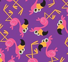 Cute Flamingo Purple by WaggSwagg