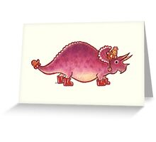 Pink Triceratops Derposaur with Wellies Greeting Card