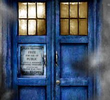 Haunted blue phone booth Sticker