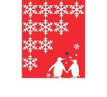 Penguin Couple Dancing in Snow Photographic Print