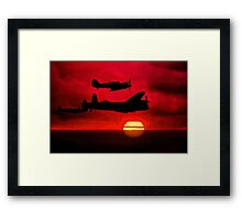 BBMF Vic Sunset Silhouette Montage Framed Print