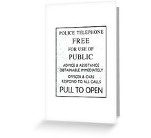 Police Telephone - Free For Public Use Greeting Card