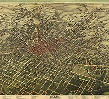 Vintage Map of Atlanta (1892)  by BravuraMedia