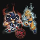 Dark Sonic vs, Super Saiyan Showdown by marinasinger