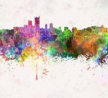 Leeds skyline in watercolor background by paulrommer