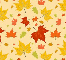 Autumn leaves seamless pattern by PaulMalyugin