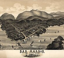 Vintage Pictorial Map of Bar Harbor (1886) by BravuraMedia