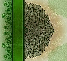 Green stripe and flower by Patternalized
