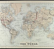 Vintage Map of The World (1875)  by BravuraMedia