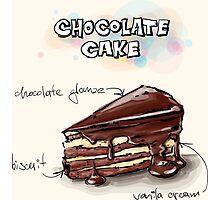 Chocolate Cake Slice Illustration Photographic Print