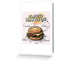 Classic Hamburger Illustration with Ingredients Greeting Card