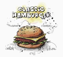 Classic Hamburger Illustration with Ingredients by texasaggie