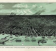 Vintage Pictorial Map of Detroit Michigan (1889)  by BravuraMedia