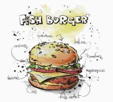 Fish Burger Watercolored Illustration Kids Clothes
